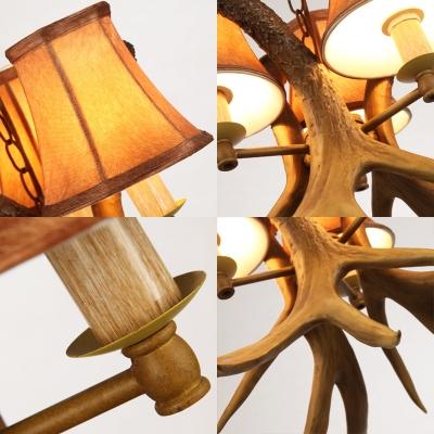 Loft Bell Chandelier Light with Fabric Shade and Resin Antler 3 Light Living Room Pendant Light