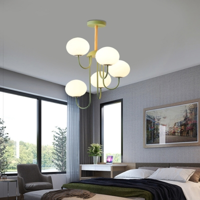 Macaron Oval Ceiling Pendant Light Milk Glass Indoor Chandelier Lighting with Wood Hanging Rod