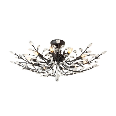 Matte Black Branch Semi Flush Chandelier Modern Crystal Metal Ceiling Lights for Living Room