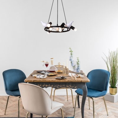 Metal Ring Hanging Pendant Light Modernism Black Chandelier Lighting with Bird