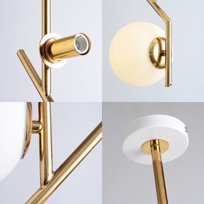 Milk Glass Global Chandelier Mid Century 2 Lights Ceiling Pendant Light in Brass