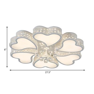 3/4/6/8 Light Heart Ceiling Light Modern Metallic White Flush Ceiling Light with Clear Crystal Ball