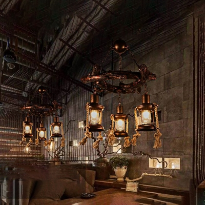 Nautical Pendant Chandelier Metal Hanging Ceiling Lights with Adjustable Chain for Restaurant