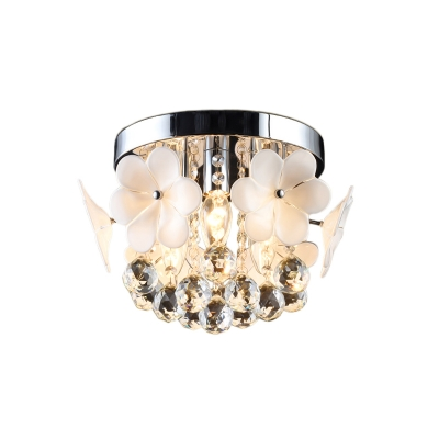 Off White Flower Semi Flush Mount Contemporary Crystal Ball Ceiling Fixture for Living Room