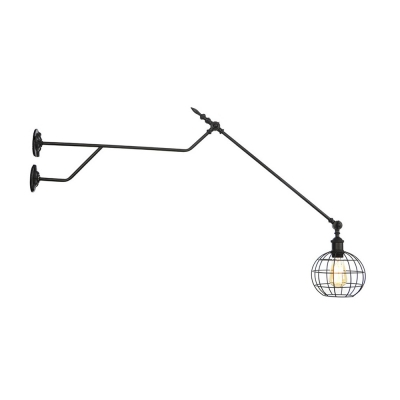 Round Sconce Wall Lights Industrial Vintage 1 Light Sconce Lights in Black with Metal Cage Shade for Corridor