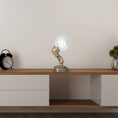 Single-Bulb Pipe Desk Lamp Rustic Style Metal and Glass Accent Table Lamp with Plug in, HL559730