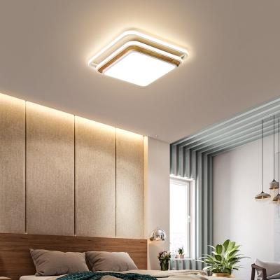 Tiered Design Square Ceiling Lighting for Bedroom Modern Simple LED Flushmount Light in Black/White