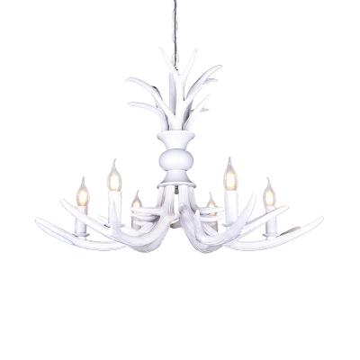 White Antler Ceiling Pendant Light Resin Indoor Chandelier Lighting for Dining Room