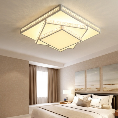 White Finish Tiered Ceiling Mounted Lights Acrylic LED White Flush Lighting for Bedroom