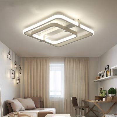 White Square Semi Flush Ceiling Light 2 Tier Modern Acrylic Ceiling Light Fixture for Bedroom