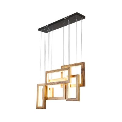 Wooden Frame Ceiling Pendant Lighting Nordic 6 Lights Hanging Light