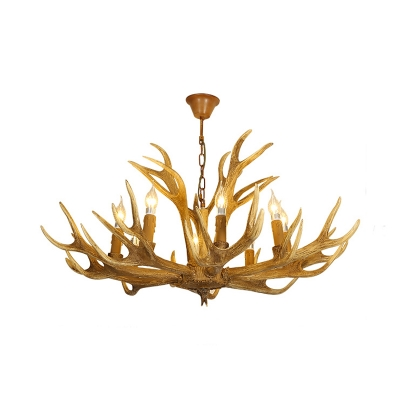 Candle Chandelier Lighting with Antler Design Rustic Resin Multi Light Pendant with Chain