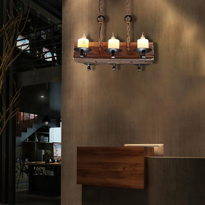Candle Hanging Ceiling Lights Lodge Glass and Iron 6-Light Wooden Pendant Light Fixture for Living Room
