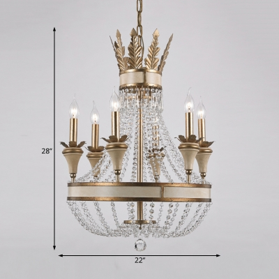 Clear Crystal Empire Chandelier with Candle Rustic Vintage Aged Brass Ceiling Pendant Light