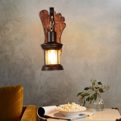 Coastal Sconce Lamp Iron and Glass 1 Head Sconce Light Fixture with Distressed Wooden Base for Restaurant, HL560416