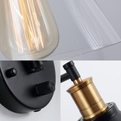 Cone Wall Sconce Lamps Contemporary Iron 1 Light Wall Sconce Lighting with Clear Glass Shade for Foyer