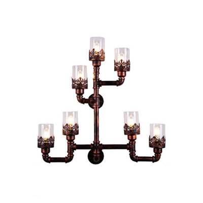 Copper Pipe Up Lighting Sconce Lamp Retro Style Iron 7-Light Sconce Light Fixture for Coffee Shop