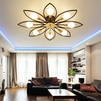Flower Living Room Semi Flush Metal 6/8 Light Modern Ceiling Light Fixture in Black