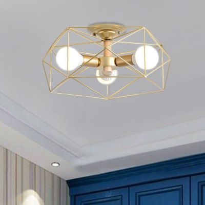 Gold Cage Semi-Flush Mount Transitional Metal Geometric Semi Flush Mount Light for Bedroom