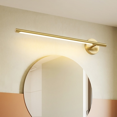 Mid Century Modern Linear Wall Sconce Metallic Led Bathroom Vanity Lighting In Gold Beautifulhalo Com