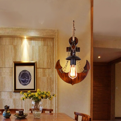 Nautical Open Bulb Wall Sconce Lights 1 Head Rope and Chain Wall Sconce Lighting with Wooden Anchor