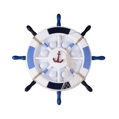 Novelty Steering Wheel Flush Mount Nautical Metal and Wood 1-Light Flush Mount Light Fixture
