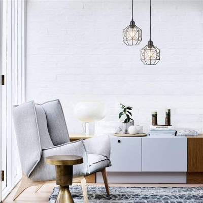 Prism Cage Hanging Light Fixtures Industrial Vintage Metal 1-Light Pendant Lighting for Kitchen Dining
