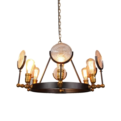Round Glass Chandelier Light Antique Metal Hanging Chandelier in Black with Brass for Dining Room