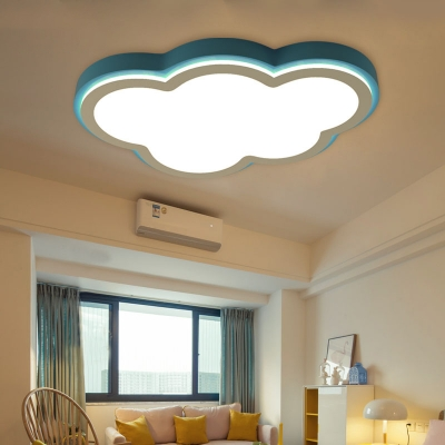 Simple Cartoon Cloud Flush Mount with Acrylic Diffuser Blue Led Flush Ceiling Light