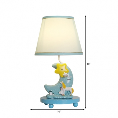 Sky Blue Cartoon Moon Table Lamps Resin and Iron 1 Light Unicorn Accent Lamp for Kids Room