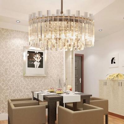 Unique Crystal Fringe Hanging Lights Contemporary 5 Light Round Pendant Chandelier for Living Room