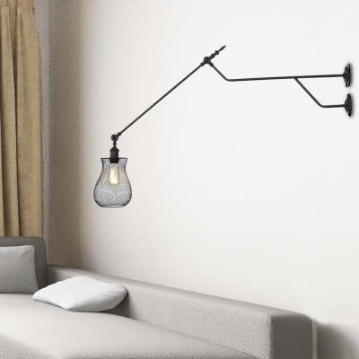Wire Mesh Wall Sconces Industrial Retro Single Light Wall Sconce Lighting for Corridor