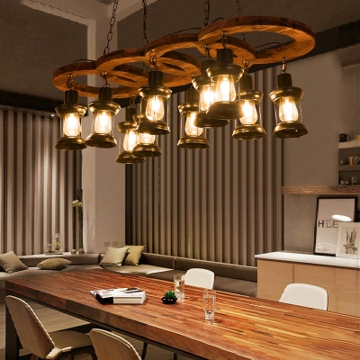 10-Light Caged Pendant Lights Country Black and Iron Hanging Light Fixtures with Rope and Wood for Dining Room