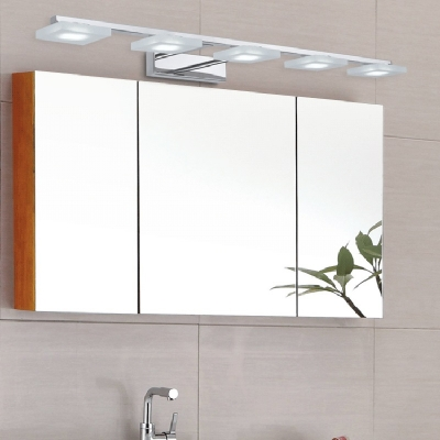 3/4/5 Light Squared Mirror Headlights, Contemporary Acrylic LED Sconces in White/Warm
