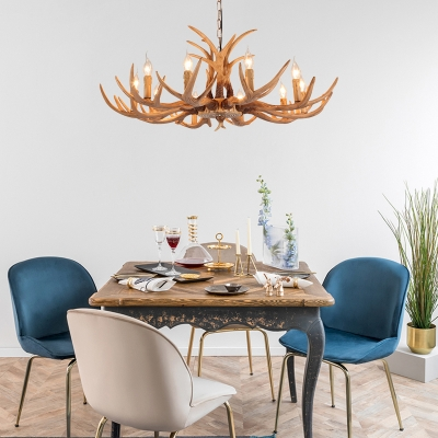 American Country Antlers Chandelier Resin Hanging Light in Gold for Coffee Shop Restaurant