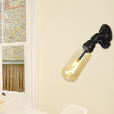 Black Pipe Sconce Lighting Fixtures Antique Metal 1 Head Sconce Lamp with Amber Glass Shade for Hall