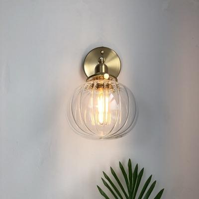 Brass Finish Ball Wall Lamp Fixtures Industrial Modern Metal 1 Light Wall Light Sconce, HL559533, Blue;green;clear