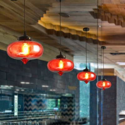 Contemporary Modern Oval Hanging Ceiling Lights Colored Glass 1-Light Hanging Light Fixture