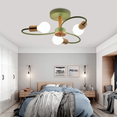 Gray and Green Curve Semi Flush Light 3/6/8 Light Modern Wood Ceiling Light for Bedroom