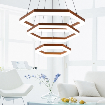 Hexagon LED Ceiling Pendant Light with Diffuser Modern Hanging Ceiling Light for Living Room