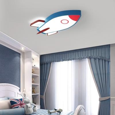 Metal Rocket Flush Mount Ceiling Light with Acrylic Diffuser Cartoon Led Flush Light