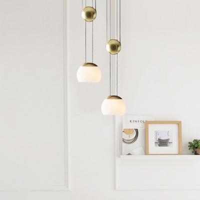 Mid Century Modern Dome Pendant Light Opal Glass 1 Light Suspension