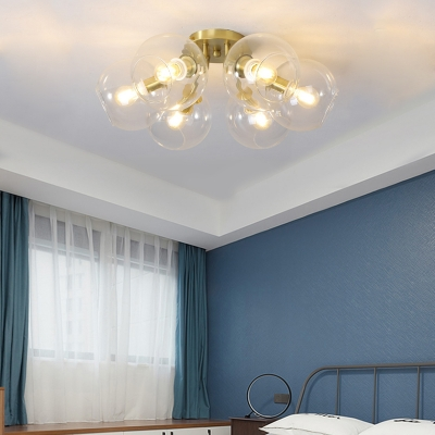 Modern Global Semi Flush Ceiling Light 6 Light Gold Finish Ceiling Light Fixture for Bedroom
