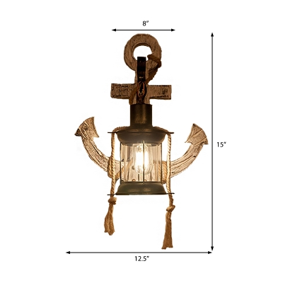 Nautical Lantern Sconce Lights Iron 1 Head Rope Sconce Light Fixture with Wooden Base in Distressed Black