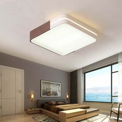 Rectangle/Square Bedroom Flush Mount Ceiling Light Acrylic LED Modern Ceiling Flush in Brown and White