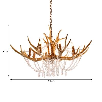 Resin Antler Chandelier Light with Crystal Strands 8 Lights Rustic Loft Ceiling Pendant