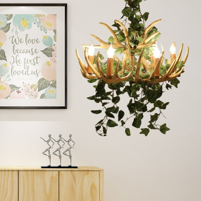 Resin Candle Pendant Light with Antler and Artificial Plants Rustic Chandelier for Restaurant