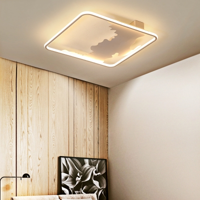 White Finish Etched Ceiling Lamp LED Metallic Flush Mount Suction Lamp for in Nordic Style