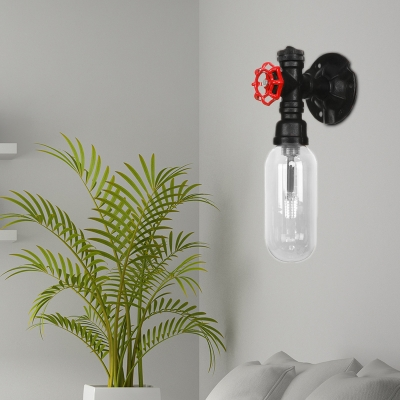 1 Head Pipe Sconce Lighting Fixtures Antique Metal and Glass Sconce Lamp in Black for Corridor