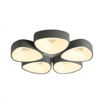 3/5 Light Triangle Shade Ceiling Mounted Lights Nordic Style Metal Flush Light in Gray
